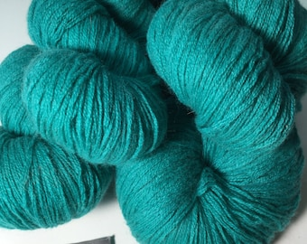 Teal 100% Cashmere Yarn Sport Weight - 3-ply - Recycled