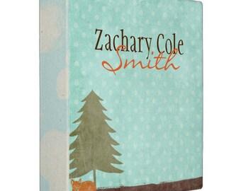 FOX baby book binder, Outdoorsy 3 ring binder, custom binder with name