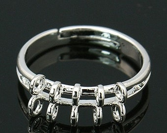 6pc silver plated ring shank-6974