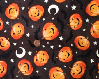 Jack O' Lantern, Pumpkin, Bat Fabric, By David Textiles ~100% Cotton for Crafts & Quilting~Fat Quarter/ FQ or Half Yard