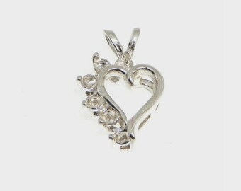 6 (2mm) Pre-Notched Sterling Silver Asymmetrical Heart Cluster Pendant Setting