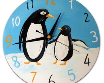 Penguin Clock / Children's Wall Clock / zoo Animal Decor /  Hand-Painted