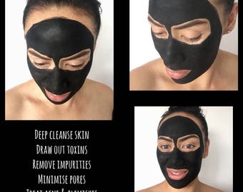 Face Mask- 15g | Activated Coconut Charcoal & Bentonite Clay | Natural Organic Detox Deep Cleanse Clear Acne | Free Shipping Australia
