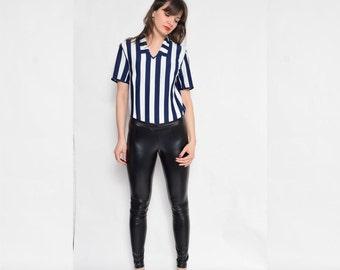 Vintage 70's Striped Blouse / Color Block Blouse / Short Sleeve Striped Blouse - Size Large