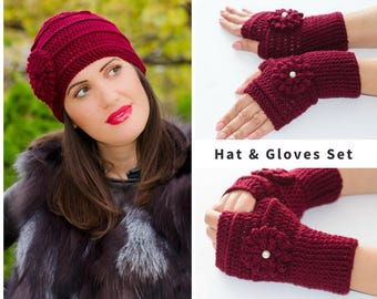 Hat and glove set, hat and mittens, fingerless gloves, knit hats women, fingerless mittens, knitted gloves, womens winter hat, flower hat