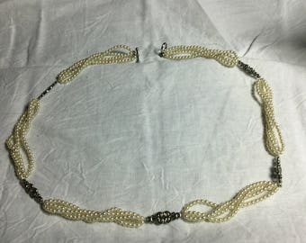Ivory Pearls with Silver filigree insets necklace