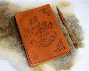 Pirate Leather Journal Personalized with Name // Custom Leather Book with Octopus and Sailing Ship