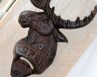 Moose Head Mason Jar Bottle Opener / Reclaimed Wood / Rustic / Bare Wood /  White