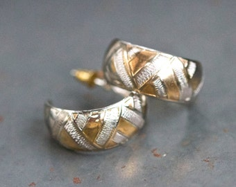 "Hoop Earrings Sterling Silver 1"" - Geometric pattern in Silver and Gold"