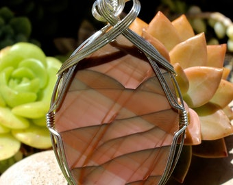 Large Royal Imperial Jasper Stone Pendant, Imperial Jasper Pendant, Argentium Sterling Silver, Wire Wrapped, Handmade Jewelry, Necklace