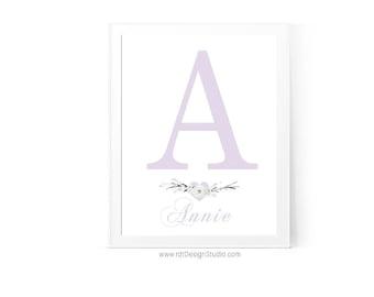 Nursery Wall Art, Name Print, Letter Print, Alphabet Print, Cadre, CUSTOM Monogram,  Kids Room Decor, Newborn Gift, Christmas Gift, D24-3R