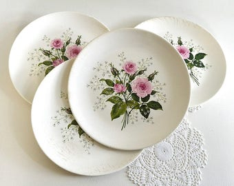 vintage floral plates pink rose plates set of four shabby chic rose plates