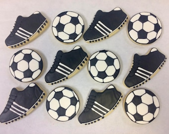 Soccer Cookies for Birthday Parties, Soccer Cleat Cookies, Soccer Ball Cookies, Soccer Banquets Party Favors, Soccer Shoe Cookies