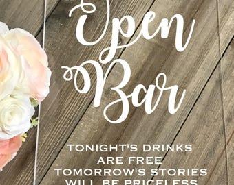 Wedding Sign // Open Bar Sign // Acrylic Bar Sign // Wedding Sign // Custom Acrylic Sign // Wedding Sign // Reception Sign