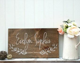 Baby girl wood sign, Wood baby name sign, Nursery wall art, Painted wood sign, Wall art for nursery, Kids room wall art