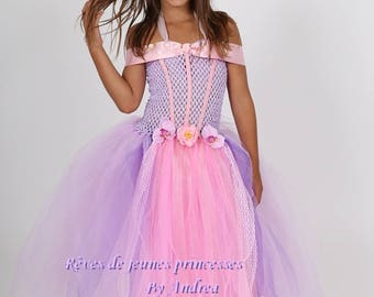 Beautiful lavender and pink tulle and stretch strapless Princess tutu dress