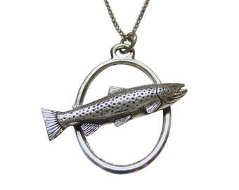 Trout Fish Large Oval Pendant Necklace