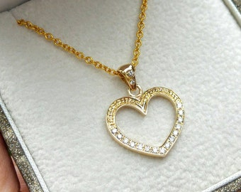 Gold heart necklace, gold and diamonds heart necklace, gold heart pendant.