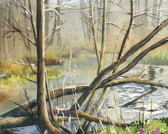 Liwa river - ORIGINAL WATERCOLOR PAINTING forest landscape with river