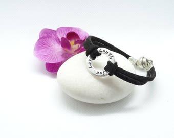 Bracelet ring text love laugh live Black Suede magnetic clasp