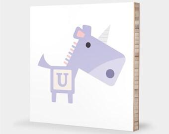 U for Unicorn : ABC Block Bamboo Wall Art Series // Alphabet Kids Wall Art Nursery Room Decor Animal Art Baby