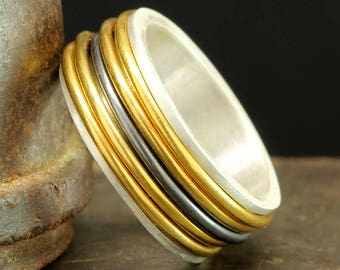 Spinner Ring, Spinner Band, Spinning Wedding Band, 925 Solid Sterling Silver 24K Yellow Gold Vermeil & Oxidized Stress, Meditation Ring