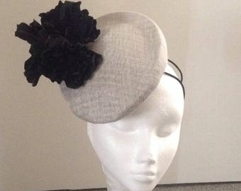 Silver grey sinamay pillbox hat headpiece trimmed with black genuine leather flowers