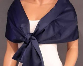 Satin pull thru wrap wedding shawl scarf cover up long bridesmaid shrug bridal evening stole SW101 AVL IN navy blue and 18 other colors