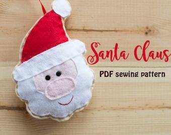 Santa Claus - PDF sewing pattern, felt, Christmas ornament, softie
