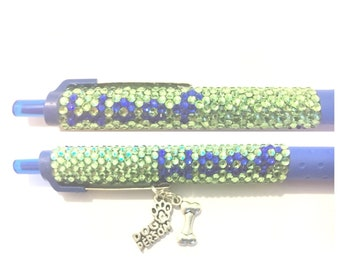 Woof woof dog person dog lover rhinestone pen with matching charms