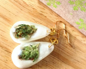 Cannabis Earrings-Weed Earrings-Real Weed Jewelry-Weed-Marijuanna Jewelry-Gifts for Stoners-420-Marijuana Jewelry-Pot Leaf-Stoner Gift