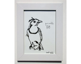 Poised to fly - framed linoprint. 25x20cm (10 x 8 inches) including frame.