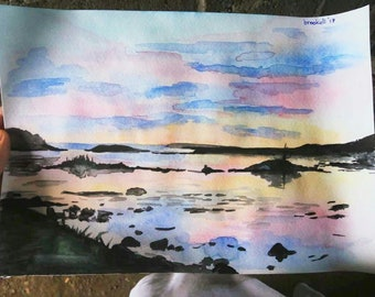 """Print of """"Solovki"""" watercolor landscape"""