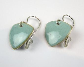 Dangle Earrings - Wedding Earrings - Blue Earrings - Drop Earrings - Anniversary Gift - Triangular Earrings - Geometric Triangle Earrings