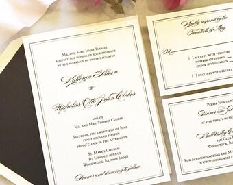 Elegant Black Wedding Invitation, Simple Black Wedding Invitation, Thermography, Classic Calligraphy Script Wedding Invite, Timeless
