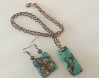 Blue Gold Copper Bornite Gemstone Pendant Necklace and Earrings Jewelry Set