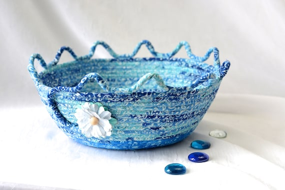 Textile Art Basket, Decorative Blue Basket, Soft Fiber Pottery, Handmade Batik Bowl, Modern Rope Fabric Basket, Yarn Basket