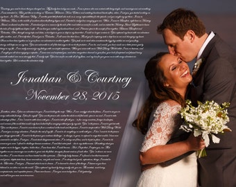 valentines gift for wife - poster with wedding vows or favorite song lyrics - gift ideas for men - wedding vows examples