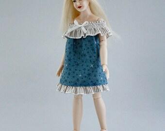 "Wearable dollhouse summer dress for 1/12 Heidi Ott 5.5"" slim doll. Free shipping!"
