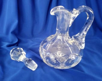 Vintage Bohemian Czech Carved Crystal Cruet With Crystal Stopper