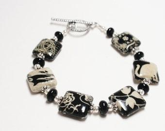 DeCoupage Square Bead Bracelet - Handmade Beaded DeCoupage Bracelet