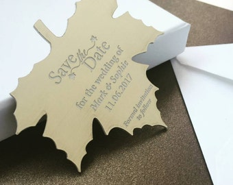 Autumn Gold Leaf Save The Date Metallic Magnet