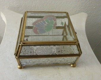 Glass Jewelry Box with Butterfly Design on top