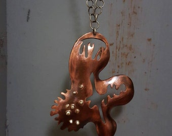 Die formed Copper and Sterling Pendant