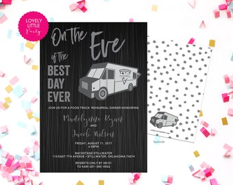 Food Truck Rehearsal Dinner Invitation, Fun Rehearsal, Food Truck Invitation, Wedding Rehearsal Dinner- Lovely Little Party