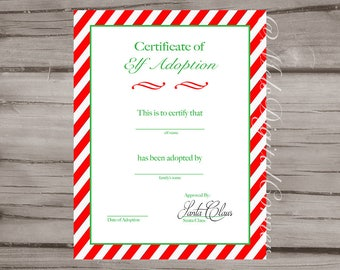 elf adoption certificate elf on the shelf christmas digital file printable - Elf Adoption Certificate Template