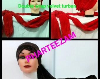 Two wraps velvet turban