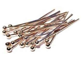 100 Rose Gold Copper BALL Headpins 30mm x 0.7mm Head Pins - Ball Pins - HP3