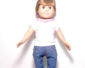 18 Inch Doll Jeans, Doll Pants, Doll Jeans With Pockets, Blue Jeans With T-Shirt, White T-Shirt, Boot Cut Blue Jeans, Upcycled Fabric