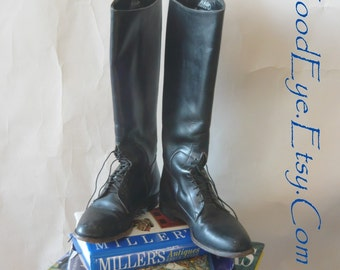 Vintage Black Leather Riding Boots / size 8 B  Eur 38 .5 Uk 5 .5  / Flat Heel Olympic Tops Laceup  / Justin USA